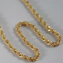 18K YELLOW GOLD CHAIN NECKLACE, BRAID ROPE LINK 17.71 INCHES MADE IN ITALY image 2