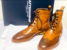 Handmade Men's Brown High Ankle Lace Up Wing Tip Leather Boot image 1