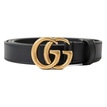 "New Gucci Black GG Marmont Double G Buckle Leather Skinny Belt 0.8"" 85 E... - $346.50"