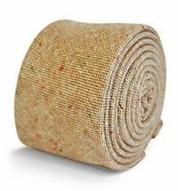 Frederick Thomas mens wool tweed tie in beige