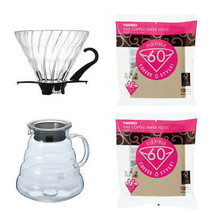 3 Hario Coffee Brewing Products - 800ml Glass Server, Glass Dripper, 200... - $55.43