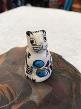 Cat Kitten Figure Porcelain Miniature White Glazed Blue Floral Design Me... - $6.15