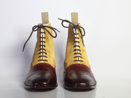Handmade Men's Burgundy & Tan High Ankle Lace Up Leather & Suede Boots image 2