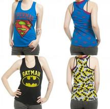 Batman Superman Allover Dc Comics Junior Racer Tank Top Shirt - $19.75