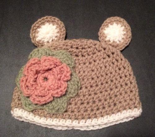 Crochet Handmade Bear Hat Infant Flower Rose And Similar Items