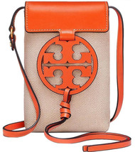 Authentic Tory Burch MILLER PHONE CROSS-BODY Leather/Canvas Orange - $185.00