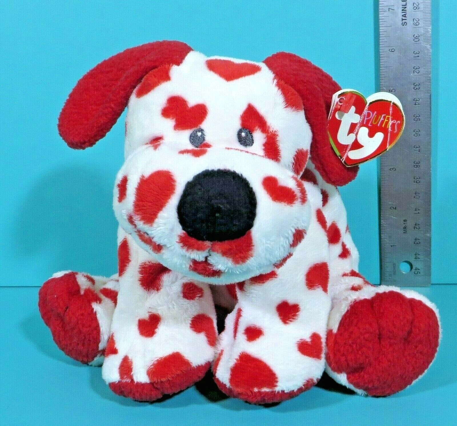 "Primary image for Ty Pluffies Sweetly Puppy Dog White Red Hearts 8"" Plush Sewn Eyes Lovey 2006 Tag"