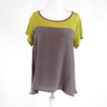 Olive green brown color block 100% silk LEFT OF CENTER short sleeve blou... - $24.99