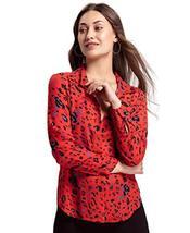 Benares Women's Gracia Button Down Shirt - Long Sleeve Shirt, Red, X-Small