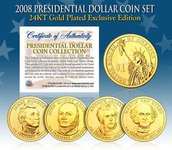 2008 Presidential $1 Dollar 24K GOLD PLATED President 4-Coin Full Set w/... - $19.75