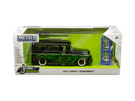 "1957 Chevrolet Suburban Black with Green Flames and Extra Wheels ""Just Trucks\"" - $42.22"
