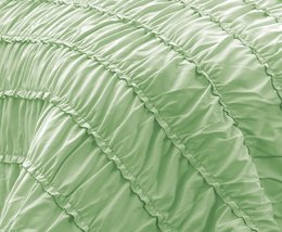 Ruched MINT 3pc Comforter Set Ruffled Pinch pleat Bed Cover Bedddings Ki... - $48.88
