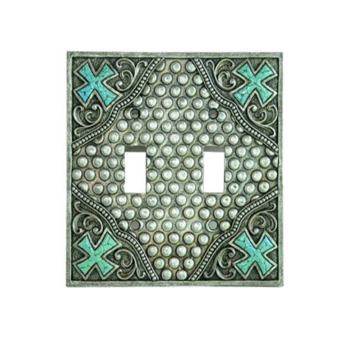 Silver Turquoise Cross Double Switch Plate Montana West NEW!