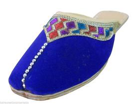 Women Slippers Open Mojari Indian Handmade Leather Blue Clogs Jutties US 9  - $24.99