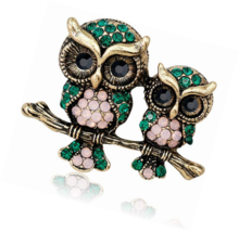Owl Couple Fashion Brooch Pins for Clothing Rhinestone Brooches Animal Corsages - $16.00