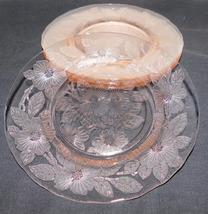 Depression Glass MacBeth Evans Dogwood Apple Blossom Set 4 Pink Lunch Pl... - $17.99