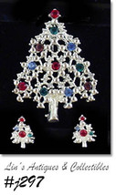 Eisenberg Ice Christmas Tree and Earrings Multi Color Rhinestones (#J297) - $90.00