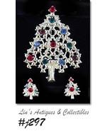 Eisenberg Ice Christmas Tree and Earrings Multi Color Rhinestones (#J297) - $90.00