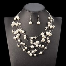 UDDEIN Wedding Bridal Jewelry Multi layer Simulated Pearl Necklace Set F... - $16.87