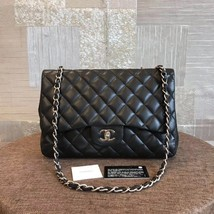 AUTHENTIC CHANEL BLACK QUILTED LAMBSKIN JUMBO CLASSIC FLAP BAG SHW