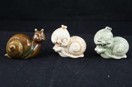 VIintage Set of 3 Ceramic Miniature Snails Brown Beige Green - $15.97