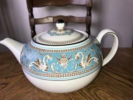 Wedgwood Turquoise Florentine Teapot 2 Pints Vintage China VGC - $256.17