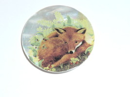 """Adorable Curled Up Red Fox Button on Mother of Pearl Shank Button 1-3/8"""" - $11.99"""