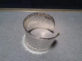 Hammered Wide Cuff Silver Plated 925 Sterling Silver Handcrafted Bracelet image 2