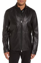 Men's Classic Genuine Lambskin Leather Jacket Slim fit Motorcycle jacket-GL04