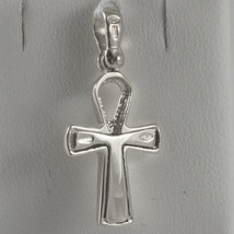 SOLID 18K WHITE GOLD CROSS, CROSS OF LIFE, ANKH, DIAMOND, 1.02 IN MADE IN ITALY image 2
