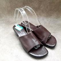 """Nine West Womens Roomy  Sz 8.5 M Brown  Leather Slide 2"""" Block Heels Sandals - $24.99"""
