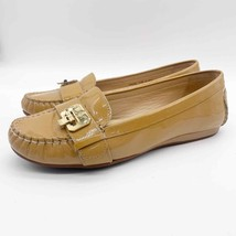 Cole Haan Womens 7.5 Tan Patent Leather Buckle Front Loafer Flats - $27.75