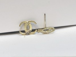 SALE!!! Authentic CHANEL CRESCENT MOON CRYSTAL CC Logo Stud Earrings Gold  image 9