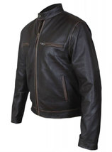 Contraband Mark Wahlberg Mens Moto Slim Fit Distressed Brown Leather Jacket image 3