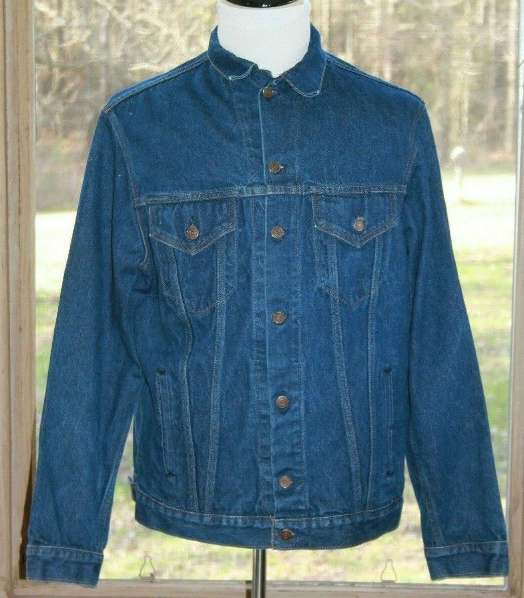 Primary image for Gap Size Large Long Denim Trucker Jacket Blue Jean Dark Rinse Made in USA (AM)