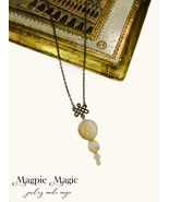 Beaded Drop Necklace: antique brass Celtic knot charm, translucent ivory... - $12.00