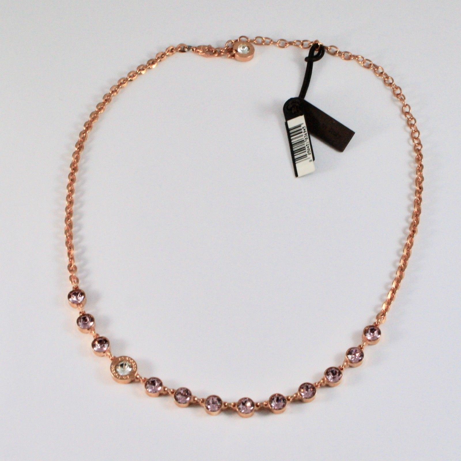 NECKLACE REBECCA BRONZE WITH CRYSTALS PINK BRILLIANT CUT BPBKRA54