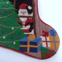 Needlepoint Christmas Stocking Santa Claus Tree Window Wool Red Velvet Back - $59.99