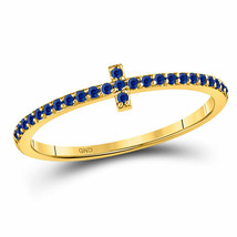 10kt Yellow Gold Womens Round Blue Sapphire Cross Stackable Band Ring 1/... - $189.19
