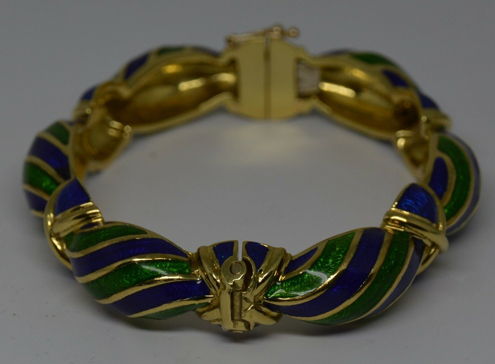 Vintage Tiffany & Co Blue Green Enamel & 18K yellow Gold Hinged Curved Bangle image 6