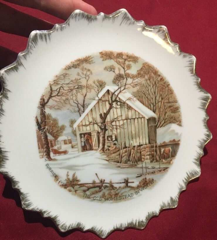 Made For Finest Nevco In Japan Small white Plate Currier & Ives Winter Scene