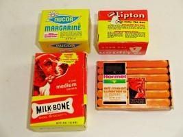 Lot of 4 Vintage Cardboard Dollhouse Kitchen Play Food Hormel Lipton Mil... - $14.14
