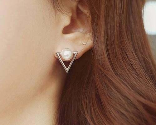 2016 Girl Simple Studs Earings Fashion Jewelry Triangle Pearl Earrings Brincos F