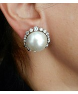 18K WHITE GOLD, LARGE MABÉ PEARL AND DIAMOND EARRINGS - $1,998.00