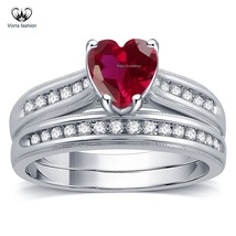 Heart Shape Pink Sapphire White Gold Plated 925 Silver Bridal Wedding Ring Set - $89.99