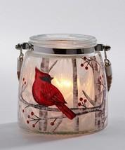 "Cardinal Glass Lantern w Rope Handle 4.7"" high Votive Tealight Candle Christmas image 2"