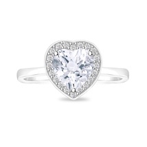 """Heart Solitaire Halo """"Engagement & Christmas Gift""""Women's Ring 14K White... - $32.99"""