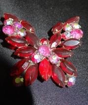Weiss Rhinestone Brass Goldtone Ruby AB Butterfly Brooch Pin - $125.00