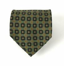 Coach Tie 100% Silk Italian Green Geometric design Mens Necktie Handmade... - $24.70