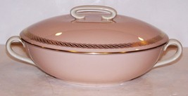 STUNNING RARE LENOX X-444 CARIBBEE PINK/GOLD ROUND COVERED VEGETABLE BOWL - $282.62